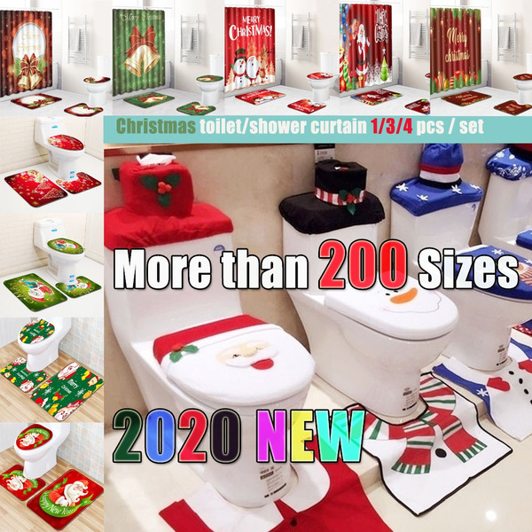 Strange 1Lot Fancy Household Christmas Santa Toilet Seat Cover And Rug Bathroom Set Customarchery Wood Chair Design Ideas Customarcherynet