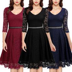 Women, Lace, Deep V-neck Dress, women dresses