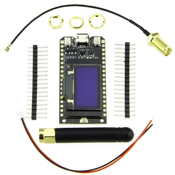 LoRa 868MHz/915MHz ESP32 0 96-inch Blue Screen OLED Bluetooth Wifi Module  with Cable for Arduino