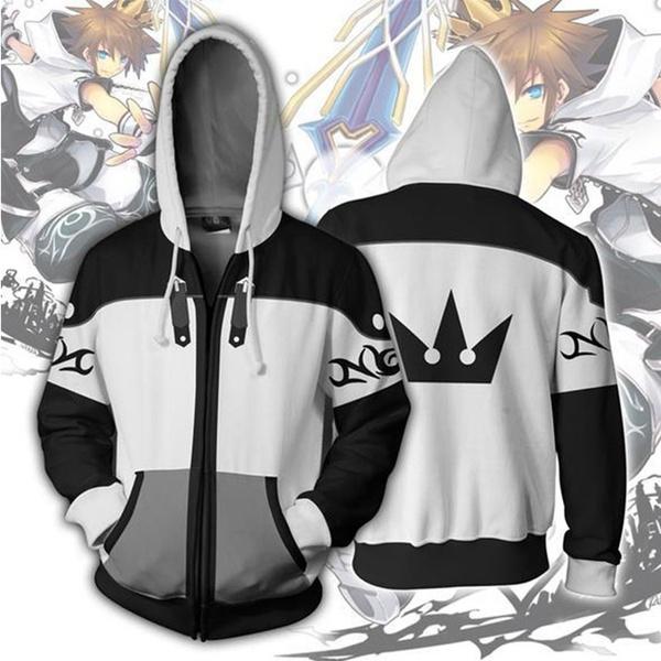 Kingdom Hearts 2 Sora Cosplay Costume 3D Printed Zipper Jacket Hoodie Sweatshirt
