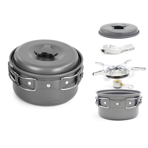 0ea6b58e00ea 1.2L Ultralight Outdoor Camping Cookware Single Cooking pot Utensils Hiking  Picnic Backpacking Tableware Pot with Camping Stove
