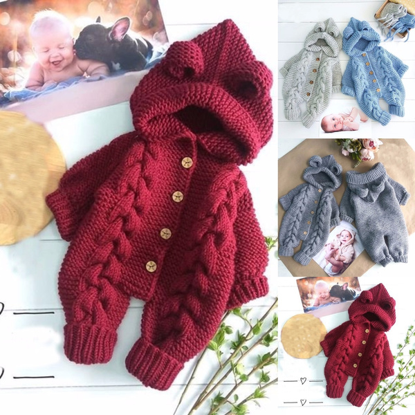 Winter Infant Baby Boy Girl Hooded Romper Jumpsuit Knit Warm Outerwear Clothes 9