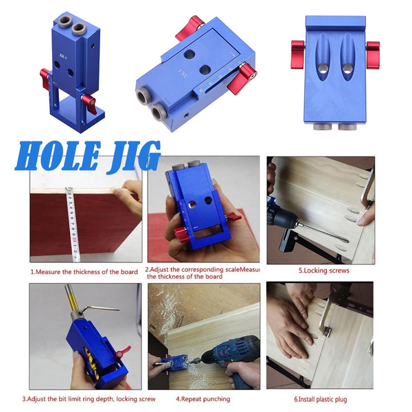 Woodworking Tool Pocket Hole Jig Kit System Wood Working Joinery Tool Set  w/ Step Drill Bit