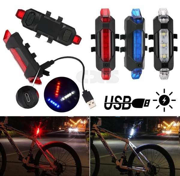 Outdoor USB Rechargeable Bike LED Tail Light Bicycle Cycling Warning Rear Lamp