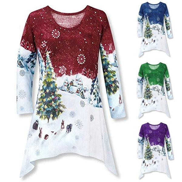 blouse, Plus Size, tunic, Christmas