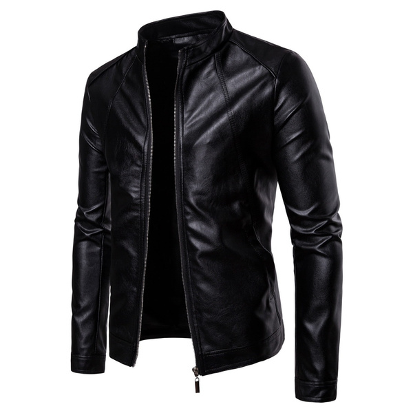 3218240e Men Leather Jacket Autumn Winter Fashion Motorcycle Style Male ...