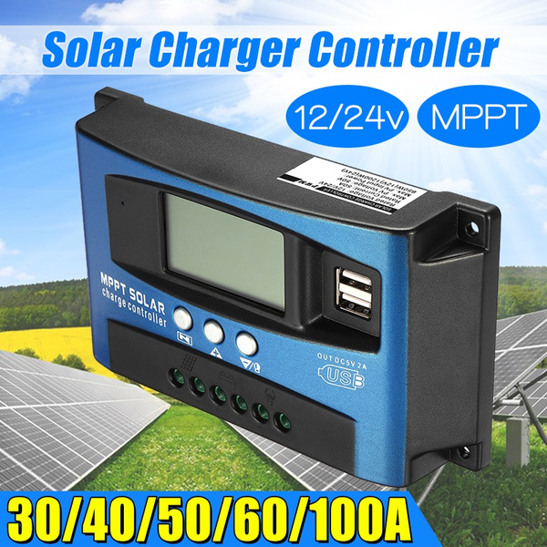 40A MPPT Solar Panel Regulator Battery Charger Controller 12//24V With LCD USB