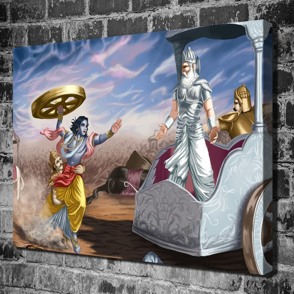 Lord Krishna And Bhishma Pitamah Other Hd Can As Print Home Decoration Living Room Bedroom Wall Pictures Printing Oil Art Landscape Ocean No Framed Wish
