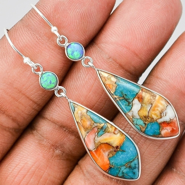 Sterling, Turquoise, Fashion, Gemstone Earrings