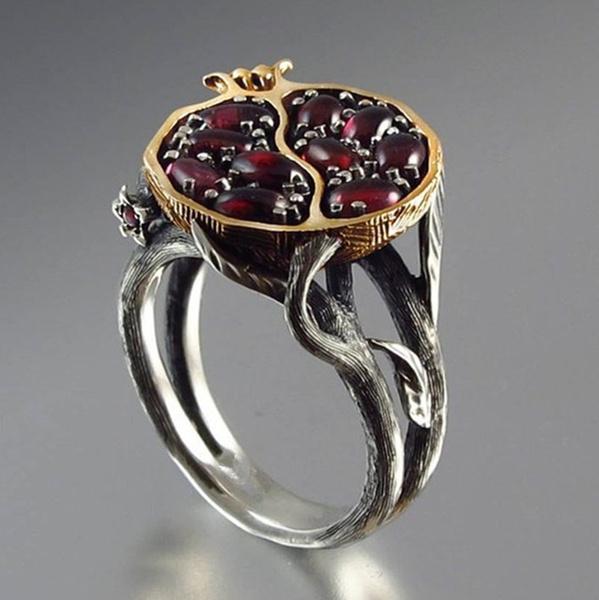Sterling, wedding ring, gold, garnet