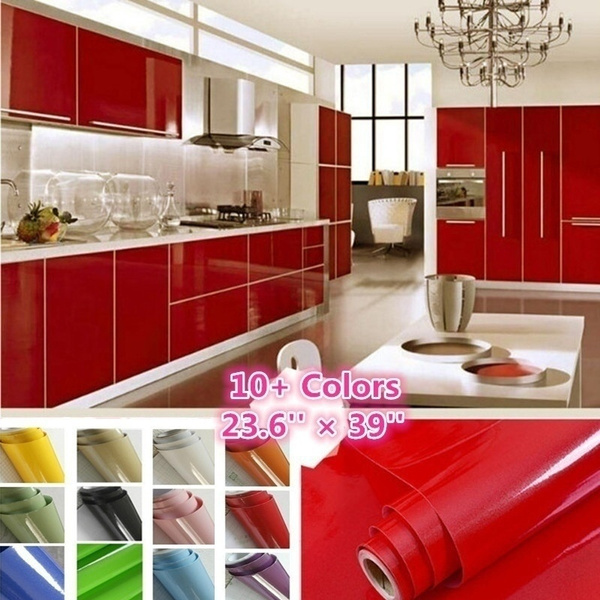 PVC Self Adhesive Pure Color Wall Sticker Home Kitchen Cabinet Decorative Decals