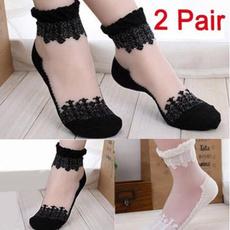Women, Cotton Socks, Elastic, Lace