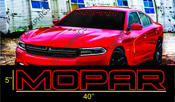 """MOPAR SOLID Letters Windshield Banner Decal 4/"""" x 38/"""""""