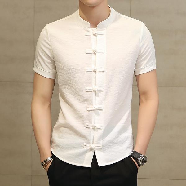 Stand Collar, Summer, Slim Fit, Shirt