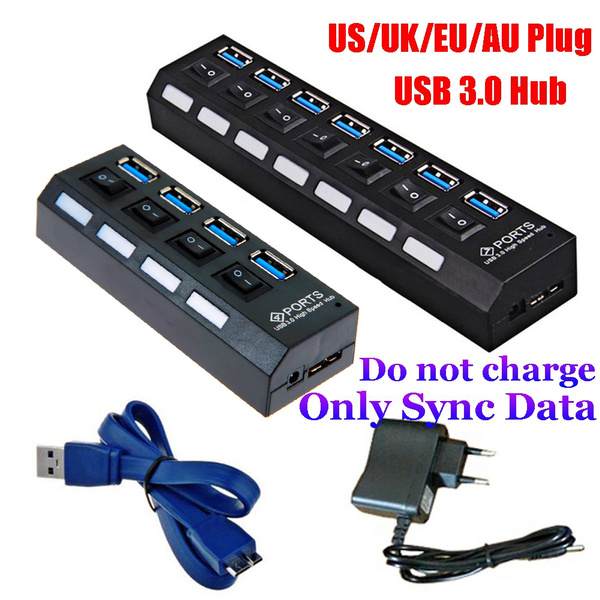 4//7 Port USB 3.0 Hub 5Gbps High Speed On//Off Switches AC Adapter for PC US//EU