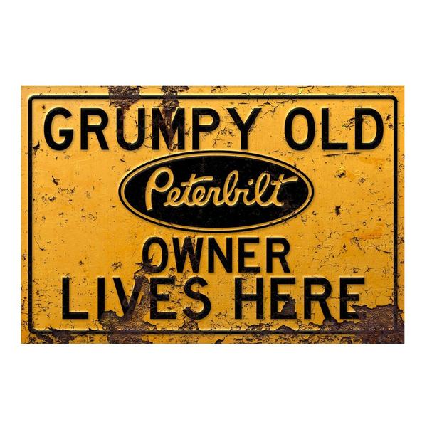 Grumpy Old Freightliner owner lives here metalsign for garage man cave home