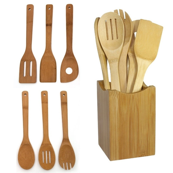 1 Set Bamboo Wood Kitchen Tools Spoons Spatula Wooden Cooking Mixing Utensils