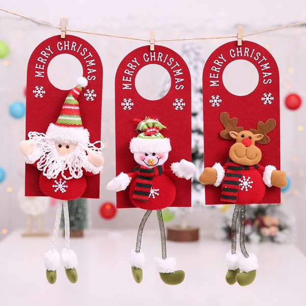 Christmas Door.World33 3 Pcs Merry Christmas Door Hanging Pendant Ornament Christmas Decorations For Home Hotel Door Xmas Gift Decoration