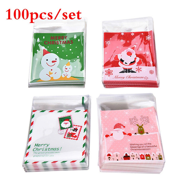 20styles Self Adhesive Merry Christmas Cookie Candy Package Cellophane Gift Bags 100pcs