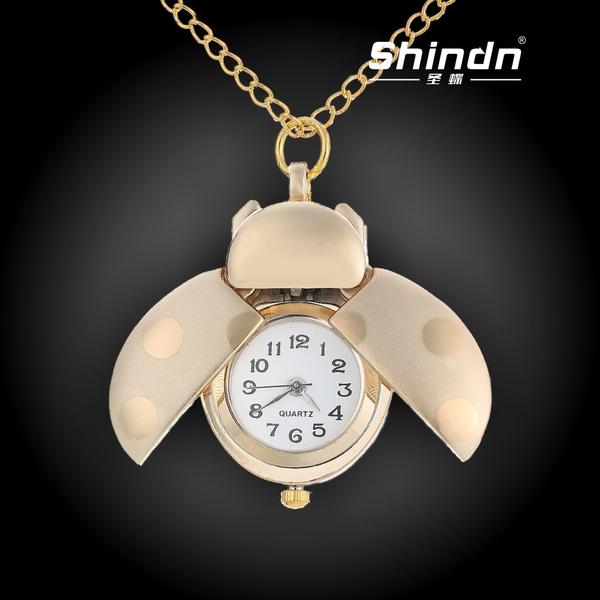 cc2ef0c82e7 Compre Antique Gold Silver Beetle Joaninha Quartzo Relógio De Bolso ...