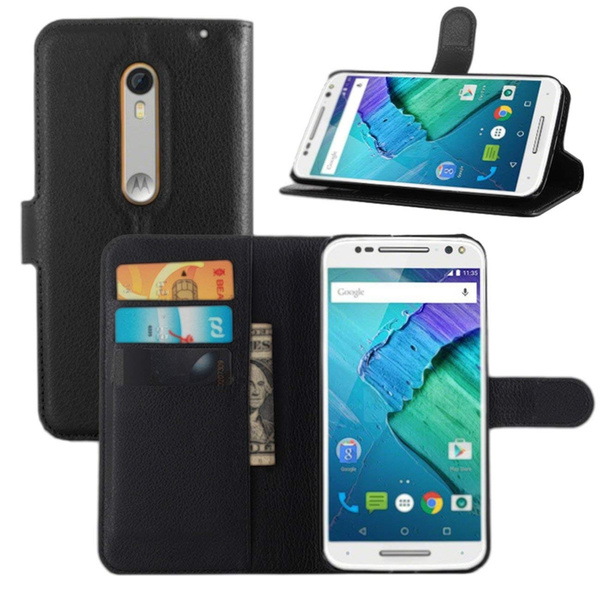 more photos 9c333 4b42f Moto X Pure Edition Case, Premium PU Leather Wallet Flip Phone Protective  Case Cover with Card Slots for Motorola Moto X Pure Edition / Moto X Style  ...
