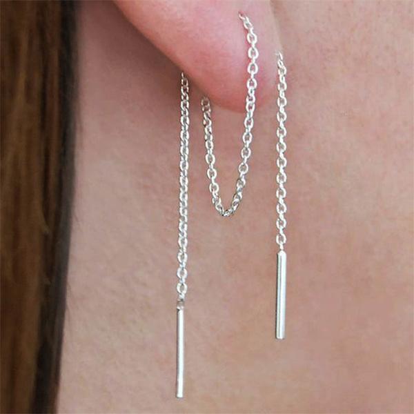 Sterling, Silver Earrings, Jewelry, Chain