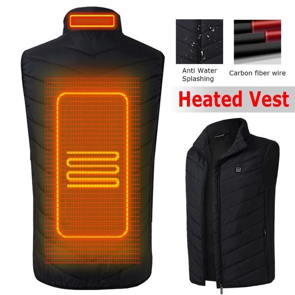 Nerefy Winter Coat Mens Lightweight Insulated Heated Vest USB Heating Sports Waistcoat Vest Jacket