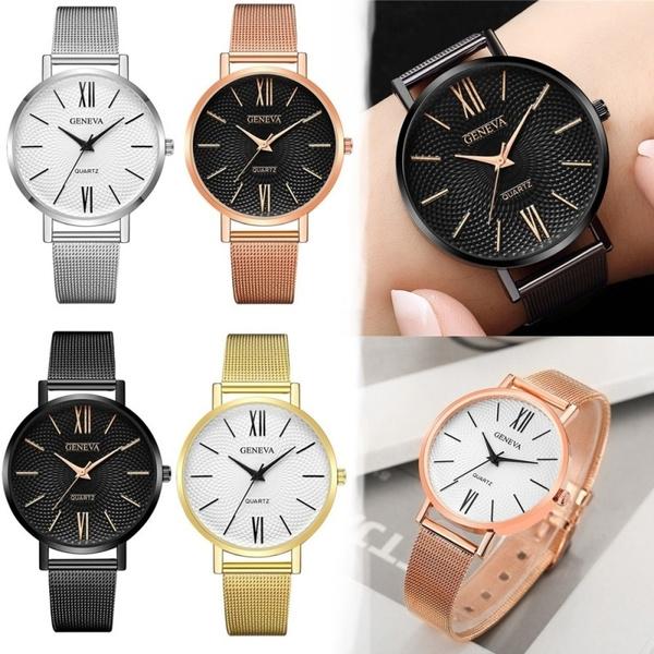Fashion Women Geneva Watch Female Rose Gold Clock Stainless Steel Watches Luxury Wrisches Quartz Bracelet Relojes Mujer