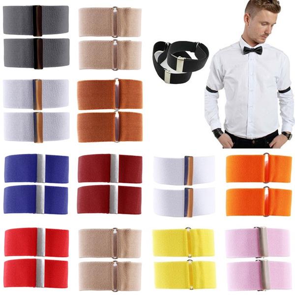 pair Various Colours Mens Elasticated Shirt Sleeve Holders