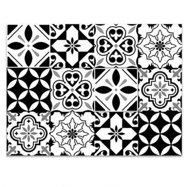 Les Tresors De Lily [Q3532] - Tapis de cuisine vinyle \'Boho\' noir blanc  (carreaux de Mosaique) - 60x45 cm | Black vinyl kitchen mat \'Boho\' black ...