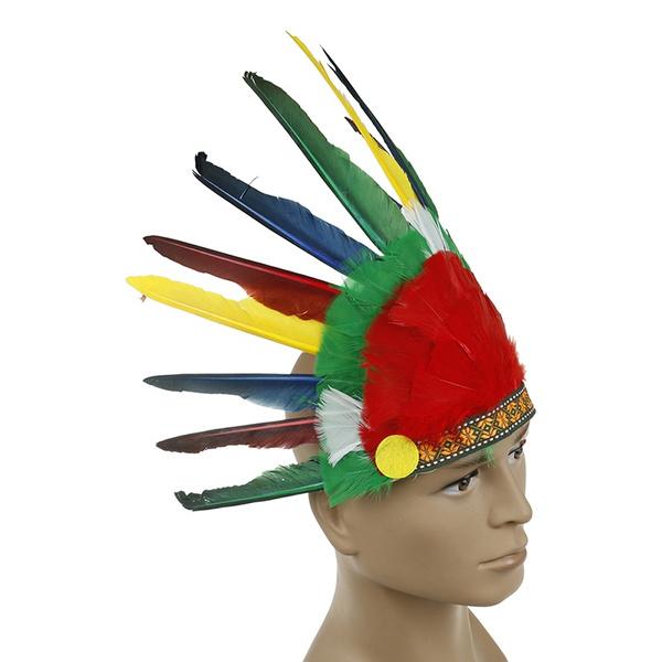 Indian Feather Headdress American War Bonnet Handmade Costume Halloween Decor UW