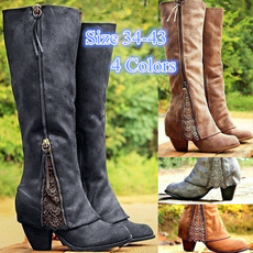 Knee High Boots, Plus Size, Leather Boots, Encaje
