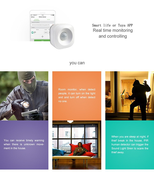 Tuya and Smart Life wifi PIR motion sensor compatible Google assist voice  control without hub For IOS Android