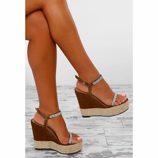Brown Sandals Summer Size Blue Wedges Women Platform Sequin High Wedge Black Heel Plus Solid kXuOPZi