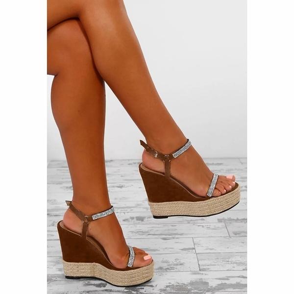 Brown Sandals Summer Size Blue Wedges Women Platform Sequin High Wedge Black Heel Plus Solid kXuOPZi