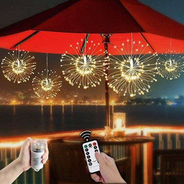 Waterproof 8-Mode LED Copper Wire Firework Feather Light String Party Decoration