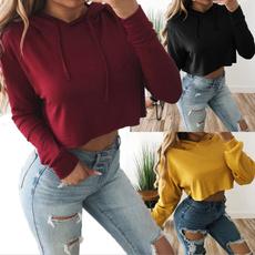hooded, crop top, Sleeve, Long Sleeve