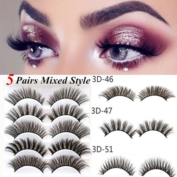 d370ea0666a 5 Pairs Multipack 3D Soft Mink Hair False Eyelashes Wispy Fluffy ...
