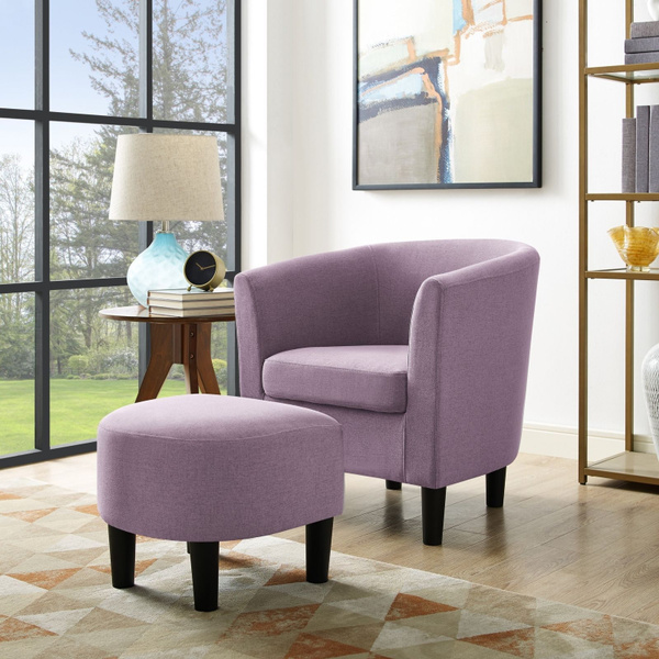 Strange Accent Chair With Curved Back Ottoman Club Seat Armchair Modern Armrest Purple Gamerscity Chair Design For Home Gamerscityorg