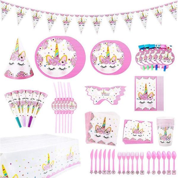 16 set Unicorn Theme Birthday Party Supplies Favor Tableware Decoration