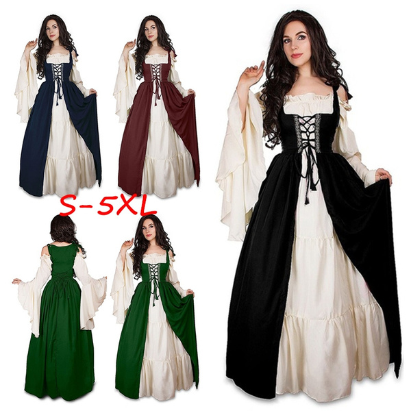 Women Plus Size Vintage Renaissance Princess Gothic Dress Floor Length  Cosplay Costume Medieval Retro Gown Tunic Long Dress