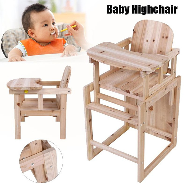 2 In 1 Wooden Detachable Highchair Baby Feeding Chair Table Set