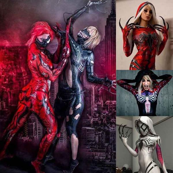Adults Kids Halloween Women Girls Venom Spider Gwen Stacy Cosplay Costume  Spiderman Hoodie Spandex Lycra Zentai Suit Superhero Bodysuit Jumpsuits  with