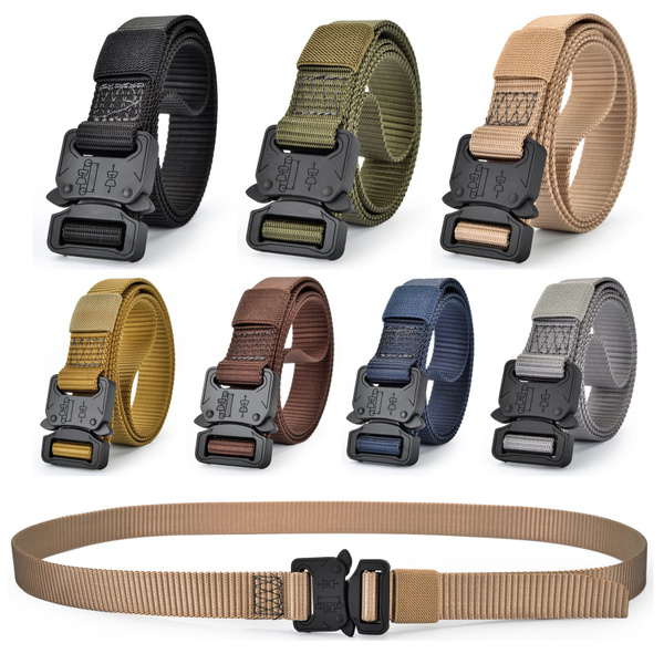 Men's Heavy Duty Nylon Quick Release Rigger's Belt Military Training  Tactical Webbed Belt, One Size Fits All Pant Sizes Below 42