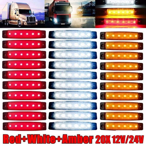 20PCS  5 Colors Truck Boat Trailer Side Marker Indicators Light Lamp 12V 6 LED
