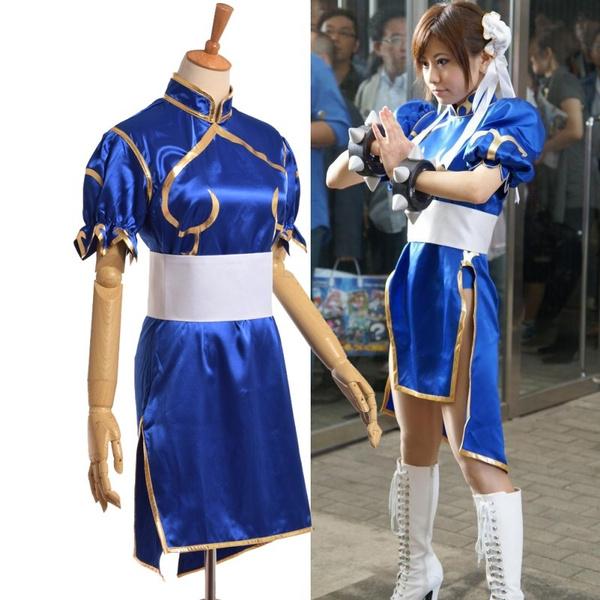Blue Dress Costume Anime Street Fighter Chun Li Cosplay Wish