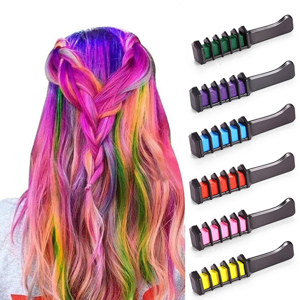 Washable 6 Colors Temporary Hair Dye Chalk Mini Hair Color Comb DIY  Non-Toxic Christmas Makeup Party Cosplay
