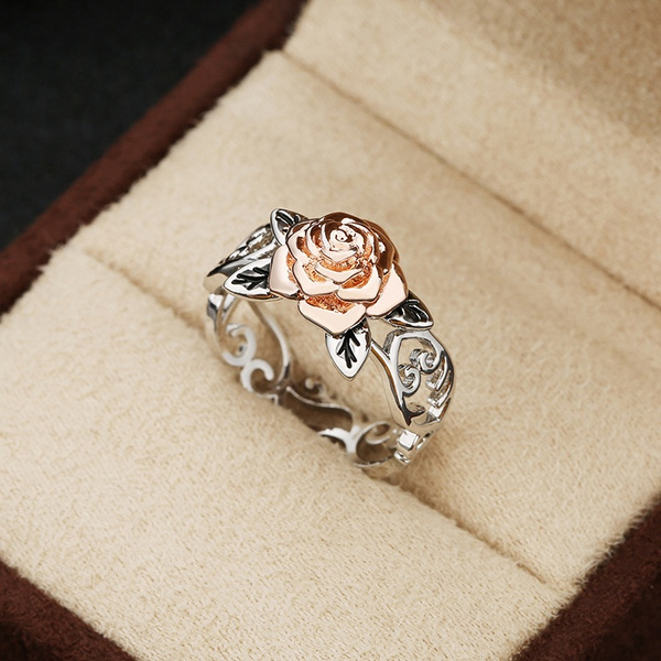 defa099cd4c Exquisite Two Tone 925 Sterling Silver Floral Ring Solid 14k Rose Gold  Fashion Flower Jewelry Proposal Anniversary Gift Engagement Wedding Band  Rings ...