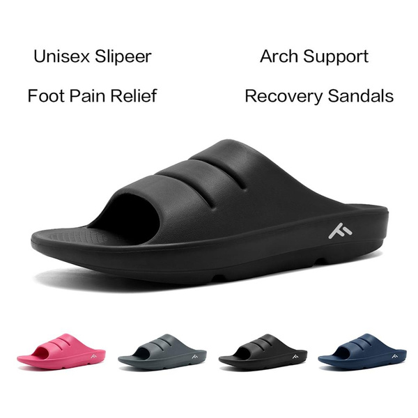 cd6957ec2bf0 FANTURE Unisex Extremely Lightweight Soft Flip Flops Foot Pain Relief Shock  Absorption Arch Support Slippers