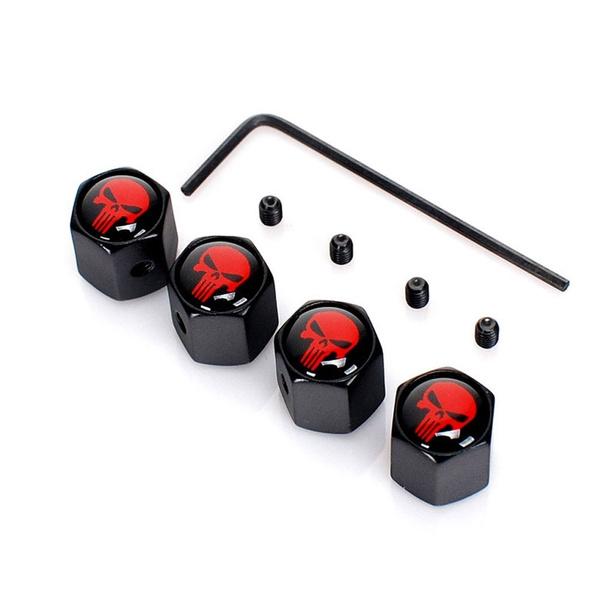 1 Set Car Silver Skull Style Wheel Tire Stem Air Valve Caps Cover Accessories